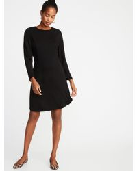 bb644d324c3b1 Lyst - Old Navy Ponte-knit Shirred-sleeve Sheath Dress in Black