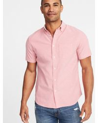 7c35bbcae3e Lyst - Old Navy Slim-fit Built-in Flex Everyday Oxford Shirt in Pink ...