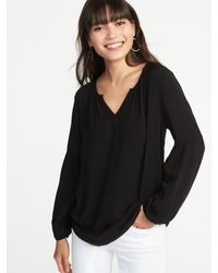 1a2f098ee84719 Old Navy Relaxed Split-neck Blouse in Black - Lyst