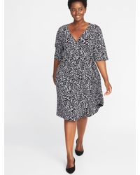 408f0df850e Lyst - Old Navy Waist-defined Plus-size Wrap-front Dress in Black