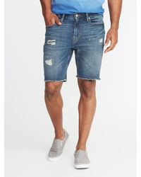 f6cea4215a6 Lyst - Old Navy Slim Built-in Flex Denim Cut-off Shorts in Blue for Men