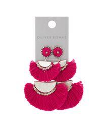 Oliver Bonas - Multicolor Duscha Half Moon Statement Tassel Earrings - Lyst