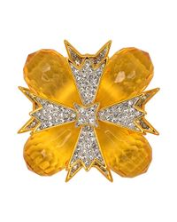 Kenneth Jay Lane - Multicolor Topaz And Crystal Cross Pin - Lyst