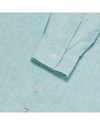 Orlebar Brown - Blue Ridley Resort-leinenhemd Mit Legerer Passform In Azure for Men - Lyst