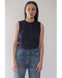 Chimala | Blue Cotton Vintage Single Jersey Muscle Tee In Navy | Lyst