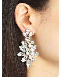 Oscar de la Renta - Metallic Swarovski Crystal Navette Drop Earrings - Lyst