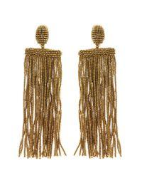 Oscar de la Renta - Metallic Long Beaded Waterfall Tassel Earrings - Lyst
