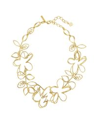 Oscar de la Renta - Metallic Gold Botanical Scribble Necklace - Lyst