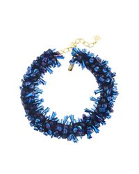 Oscar de la Renta - Blue Beaded Collar Necklace - Lyst