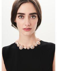 Oscar de la Renta | Metallic Rose Gold Pavé Crystal Dome Necklace | Lyst