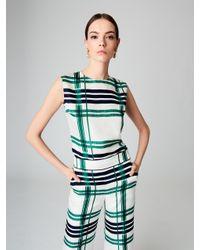 Oscar de la Renta - Green Plaid Silk-twill Wide-leg Pants - Lyst