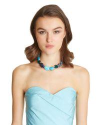 Oscar de la Renta - Blue Semi-precious And Resin Rose Necklace - Lyst