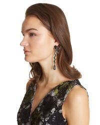 Oscar de la Renta   Black Swarovski Crystal Pavé Bow Spiral Earrings   Lyst