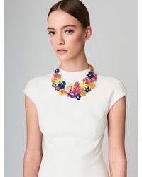Oscar de la Renta - Blue Large Painted Floral Necklace - Lyst