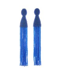 Oscar de la Renta - Blue Long Beaded Tassel Earrings - Lyst