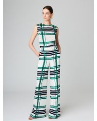 Oscar de la Renta - Green Plaid Silk-twill Wide-leg Pants - Lyst