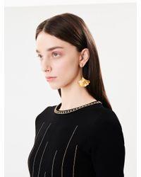 Oscar de la Renta - Metallic Small Ginkgo Leaf Drop Earrings - Lyst