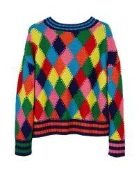 MIRA MIKATI - Multicolor Diamond Stitch Hand Knit Sweater Multi - Lyst