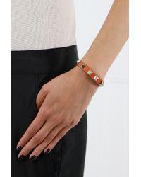 Valentino - Rockstud Small Leather Bracelet Orange - Lyst
