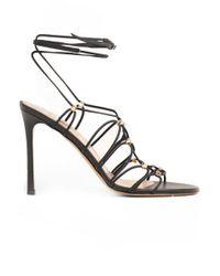 Valentino | Rockstud Gladiator Lace Up Heel Black | Lyst