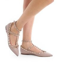 Valentino | Natural Rockstud Ballerina Flats Grained Leather Poudre | Lyst