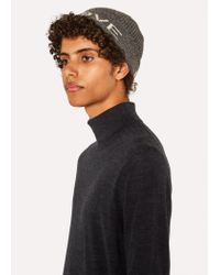 Paul Smith - Gray Grey 'peace And Love' Wool Beanie Hat for Men - Lyst