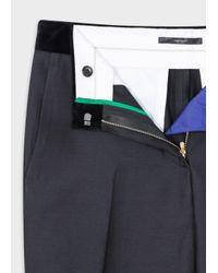 Paul Smith - Women's Slim-fit Black Wool-silk Trousers With Velvet Waistband - Lyst