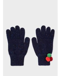 Paul Smith | Blue Women's Navy Flecked Wool Gloves With Pom-pom Detail | Lyst