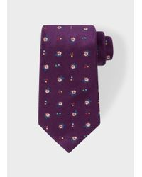 Paul Smith | Men's Purple 'wild Flower' Pattern Silk Tie for Men | Lyst