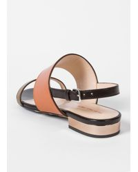 Paul Smith - Brown Women's Tan And Black Leather 'cleo' Sandals - Lyst