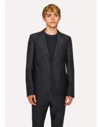 Paul Smith - Blue Mid-fit Dark Navy Textured-check Wool-blend Suit for Men - Lyst