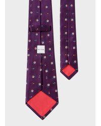 Paul Smith   Men's Purple 'wild Flower' Pattern Silk Tie for Men   Lyst