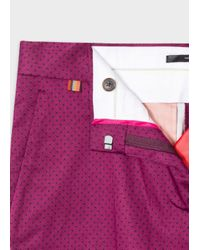 Paul Smith - Purple Women's Slim-fit Maroon Polka Dot Stretch-cotton Trousers - Lyst