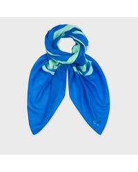 Paul Smith | Multicolor Men's Sky Blue 'peace And Love' Scarf for Men | Lyst