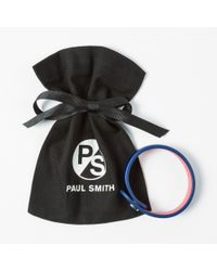Paul Smith - Men's Blue Leather Ps Logo Bracelet for Men - Lyst