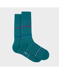 Paul Smith | Blue Men's Petrol Fleur-de-lis Socks With Stripes for Men | Lyst