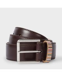 Paul Smith | Men's Brown Leather Belt With Signature Stripe Keeper for Men | Lyst