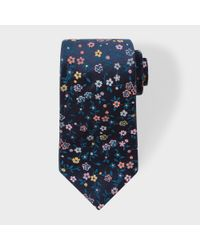 Paul Smith | Blue Men's Navy And Pink Embroidered Floral Silk Tie for Men | Lyst
