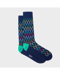 Paul Smith | Blue Men's Navy Socks With Multi-coloured Diamond Pattern for Men | Lyst
