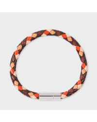 Paul Smith | Men's Brown And Orange Leather Plaited Bracelet | Lyst