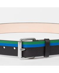 Paul Smith - Men's Blue And Green Stripe Leather Belt for Men - Lyst