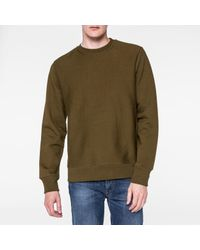 Paul Smith - Natural Men's Khaki Organic Loopback-cotton Sweatshirt for Men - Lyst