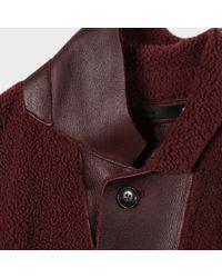 Paul Smith - Blue Men's Burgundy Shearling-sheepskin Coat for Men - Lyst