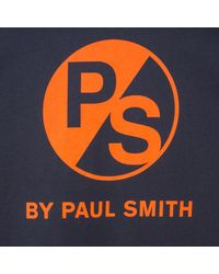 Paul Smith - Blue Men's Navy Ps Logo Organic-cotton T-shirt for Men - Lyst