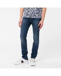 Paul Smith | Blue Men's Slim-fit Antique-wash Crosshatch Jeans for Men | Lyst