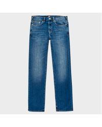 Paul Smith | Blue Men's Standard-fit Mid-wash Slub-denim Stretch Jeans for Men | Lyst