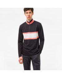 Paul Smith | Men's Black Half-zip Loopback-cotton Sweatshirt With Contrast Stripe for Men | Lyst