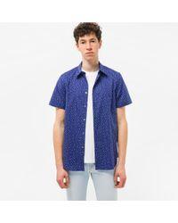 Paul Smith | Blue Men's Tailored-fit Navy 'cactus' Print Short-sleeve Shirt for Men | Lyst