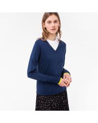 Paul Smith - Blue Women's Navy Cotton V-neck Sweater - Lyst