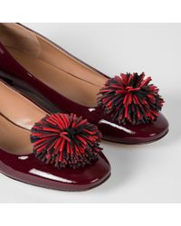 Paul Smith - Red Women's Bordeaux Patent Leather 'elise' Ballet Flats With Pom-poms - Lyst
